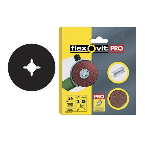 Flexovit 63642527535 Aluminium Oxide Fibre Discs 115mm Fine 80g Pack of 3