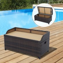 Outsunny Rattan Bench Storage Cabinet Cushion Box Chest