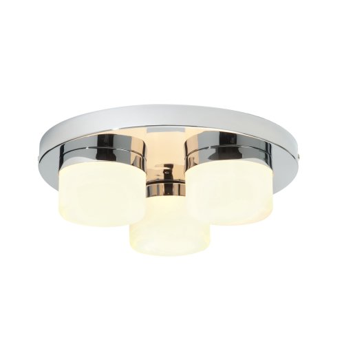 "Saxby ""Pure"" 34200. 3-light Bathroom Ceiling Pendant. Chrome & Glass. IP44."