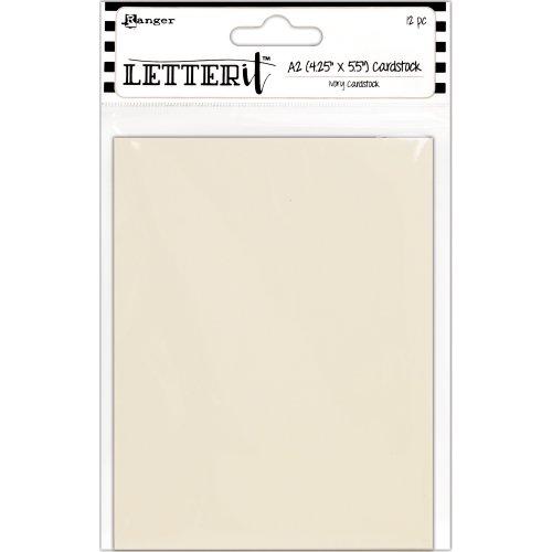 """Ranger Letter It Cardstock 4.25""""X5.5"""" 12/Pkg-Ivory"""