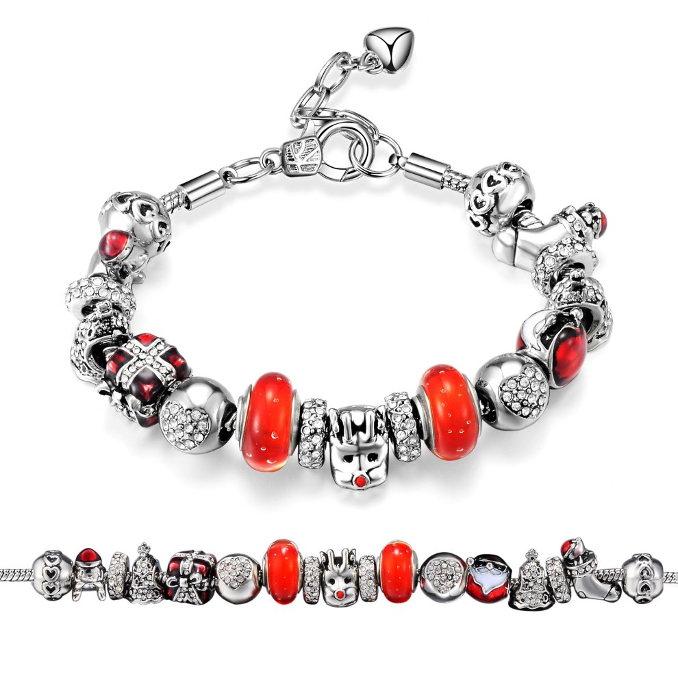 9381754e2 Christmas Charm Bracelet Created with Swarovski Crystals on OnBuy