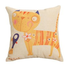 Decor Cotton Linen Decorative Throw Pillow Case Cushion Cover,Fish And Cat