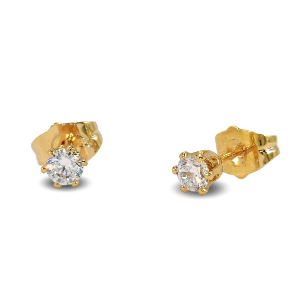 fa4cdd0a951a2e ... Blue Diamond Club - 18ct Gold Filled Stud Earrings Very Small Dainty  Cute 4mm White CZ. >
