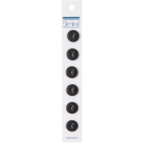 "Slimline Buttons Series 1-Black 2-Hole 1/2"" 6/Pkg"