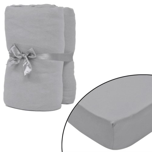 vidaXL Fitted Sheet 2 pcs Cotton Jersey 90x190-100x200 cm Grey