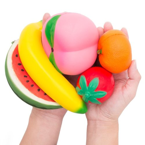 MMTX Slow Rising Jumbo Fruit Squishy Watermelon, Peach, Strawberry, Banana & Orange Kawaii Cream Scented Stress Relief Toys for Party Gift Supplies