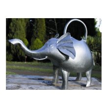 Silver Elephant Watering Can - Apples To Pears Handcrafted Galvanised Ornamental - Apples To Pears Elephant Handcrafted Galvanised Ornamental