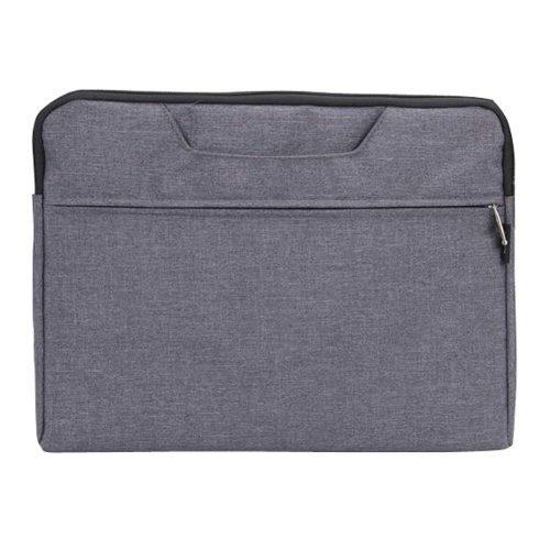 Portable Canvas Document Organizer A4 Zipper Bag Office Briefcase-Gray