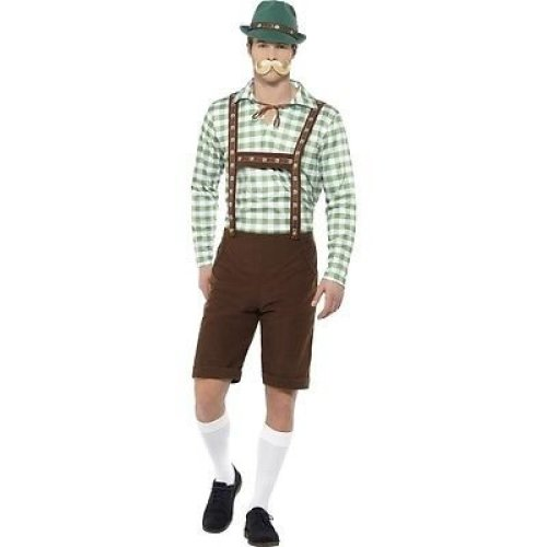 Alpine Bavarian Costume, Green & Brown, With Shirt & Lederhosen -  alpine bavarian costume mens oktoberfest beer man fancy dress outfit