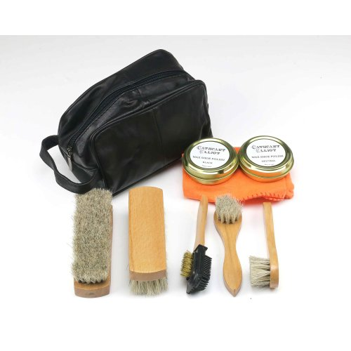 Shoe Cleaning Kit in Real Leather Bag