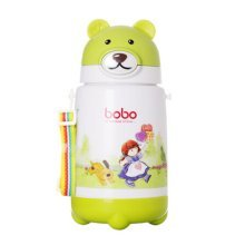 Cartoon Baby Sippy Cup Double Plastic Insulated Baby Cup GREEN