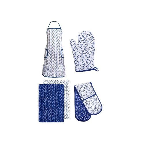 Blue Rose Oven Gloves, Apron And Tea Towels, Set Of 5