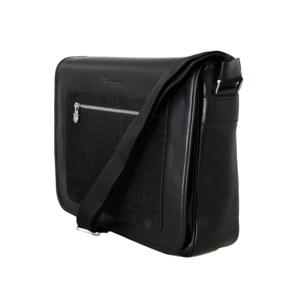 ... Billionaire Italian Couture Black Leather Messenger Shoulder Bag - 3 ... 23af104ed901e