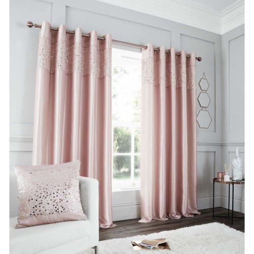 Catherine Lansfield Glitzy Eyelet Curtain 66x90 Inch Blush