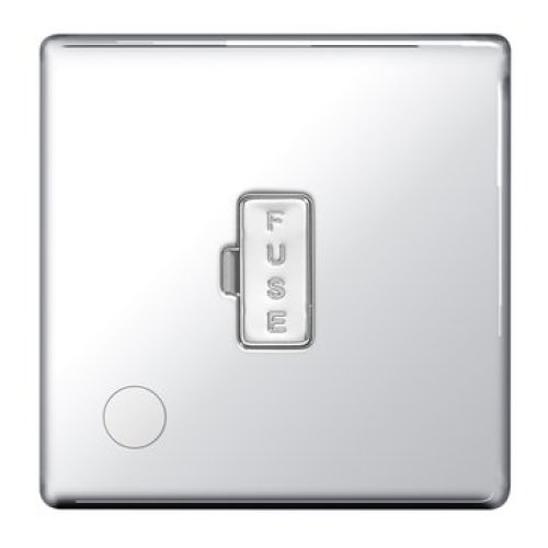 BG-Nexus-Flat-Plate Screwless Flat Plate 13A Un-Switched Fused Connection Unit,Flex Outlet,Polished Chrome Finish