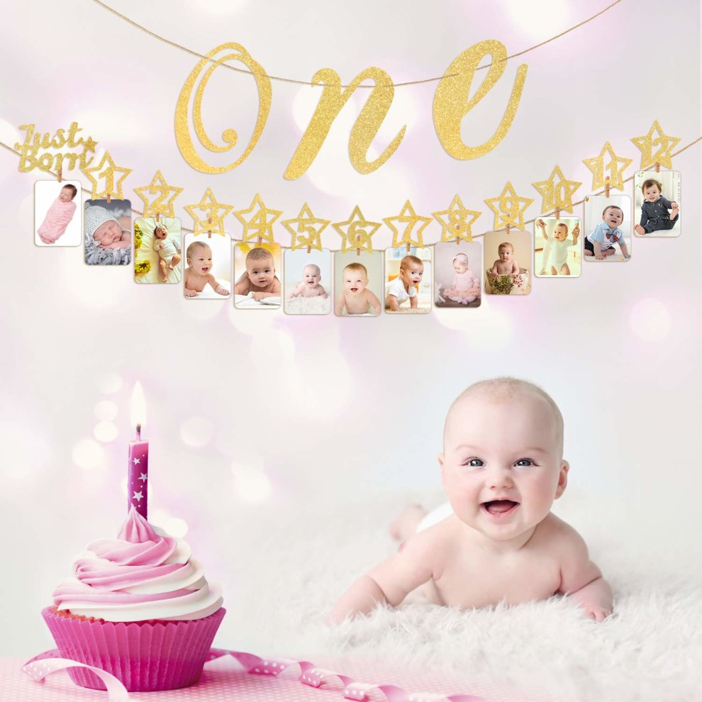 c697d9562fe ... Hifot 1st Birthday Photo Banner with High Chair Glitter Gold ONE  Decoration