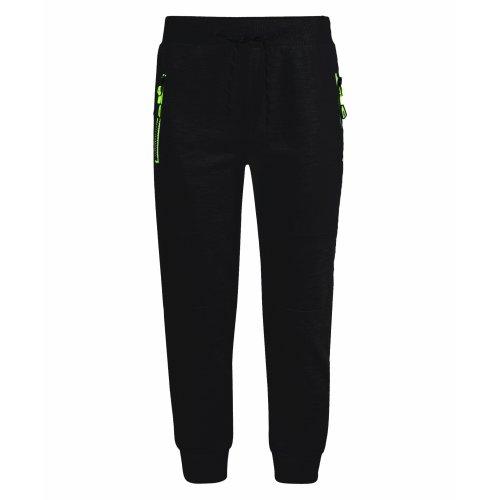 Boys Neon Hood Tracksuit Trousers FY-804 in Black 3-4 Years