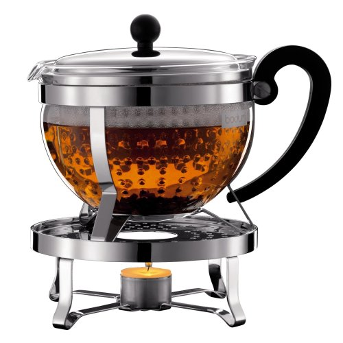 Bodum K11143-16 Chambord Set, tea maker with plastic filter 1.3L, with Rechaud Shiny - silver/black