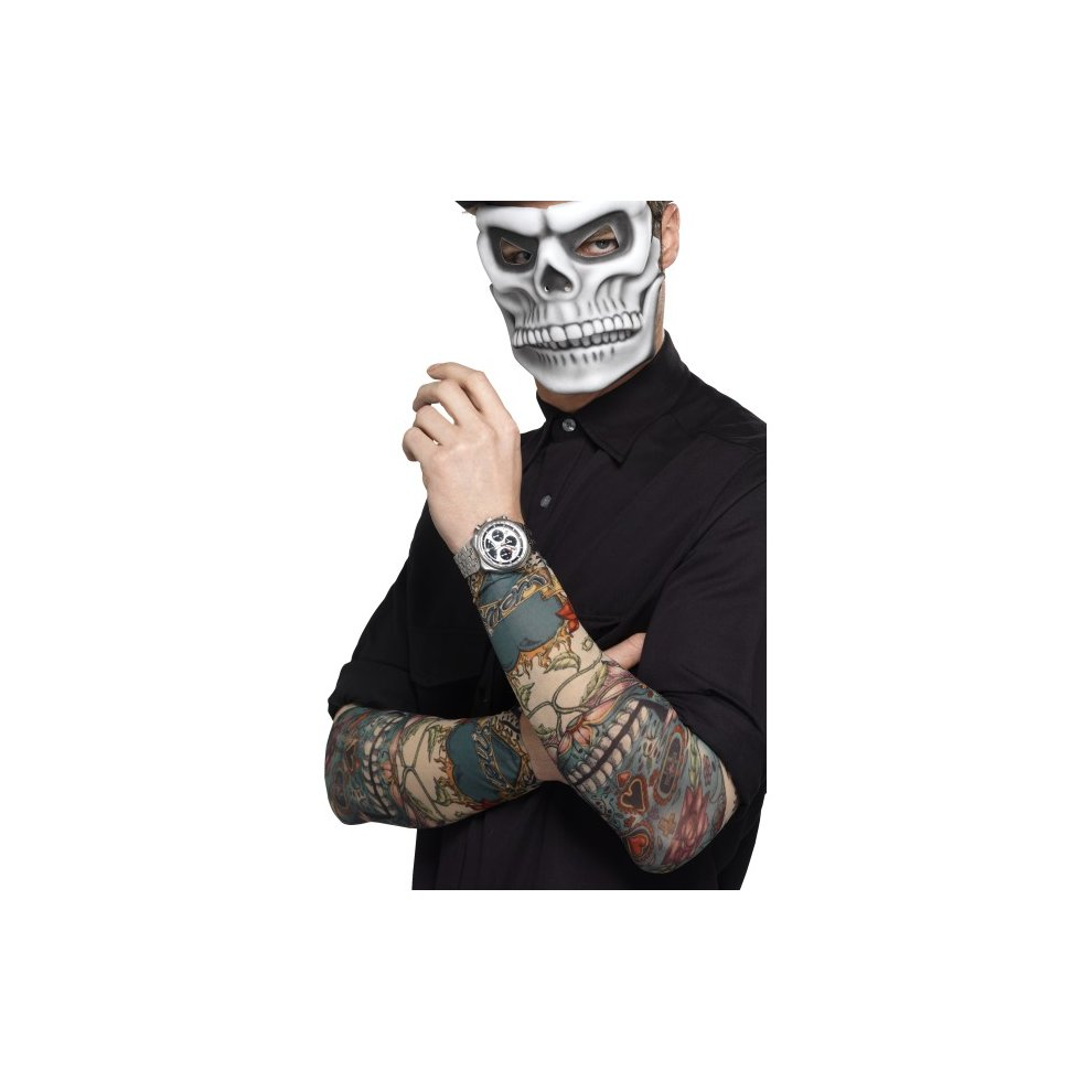 Smiffy's 44225 Day Of The Dead Tattoo Sleeve (one Size) - day dead tattoo  fancy dress sleeve halloween smiffys costume mens ladies accessory sleeves