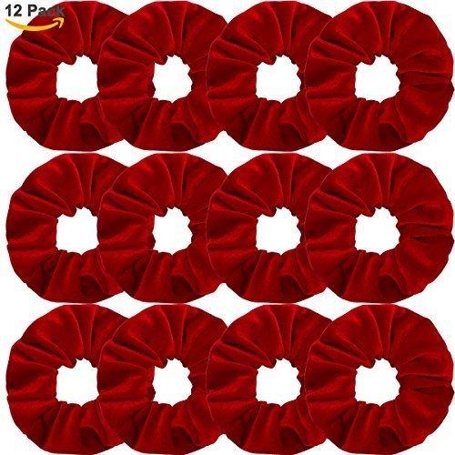 Whavel 12 Pack Hair Scrunchies Velvet Elastics Scrunchy Bobbles Soft Hair Bands Hair Ties, Red