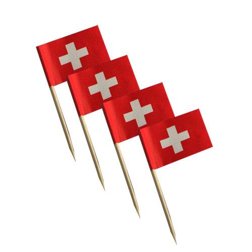 National Flag Cocktail Picks 200 Packs Appetizer Toothpicks - Switzerland