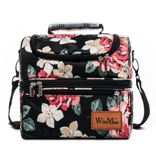 059cb2836989 Lunch Bag, Insulated Lunch Box Large (12L) Cooler Tote Bag/Waterproof  Double Deck Cooler for Men, Women by Winmax (Flower Pattern)