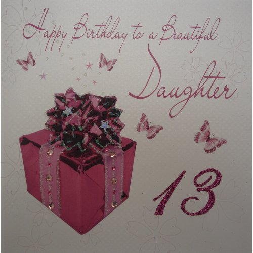 WHITE COTTON CARDS Large Pink Present Design Daughter 13th Birthday Handmade Card On OnBuy
