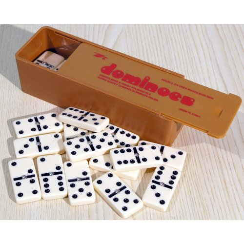 Plastic dominoes with black spots & spinners, double six - 00108