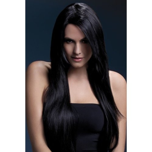 Fever Women's Long Straight Black Wig With Feathered Bangs, 28inch, One Size, -  wig fever amber black 28inch71cm smiffys fancy dress
