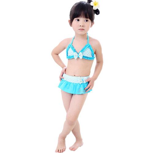 Cute Polka Dot Little Girls Swimsuit Kids Two-pieces Bikini Swimwear 5T Blue