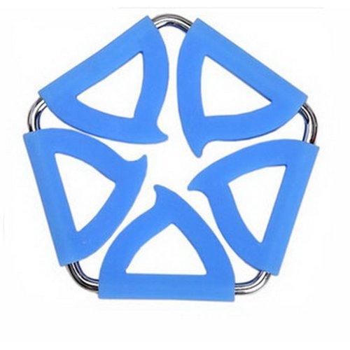 Pentagon Stainless Steel Silicon Potholders Pot Holder, Heat-proof Mat(Blue)