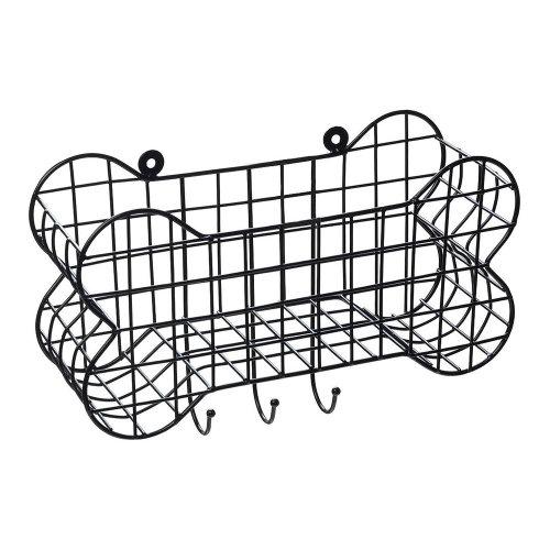 House of Paws Bone Shaped Wall Storage Basket & Dog Lead Hooks - Small