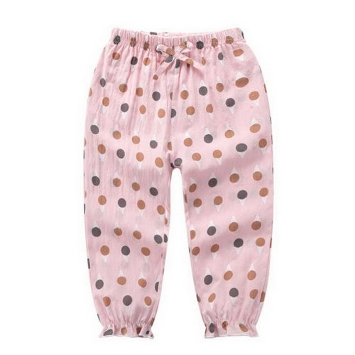 Comfortable Soft Children's Trousers, Pink Bottom And Dots