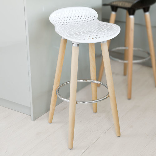 So Fst35 W Kitchen Breakfast Barstool Abs Plastic Seat Wooden Legs