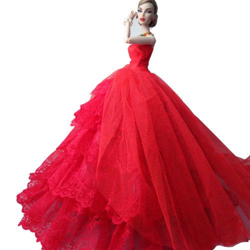 "Bonzer Handmade Party Dress Wedding Dress for 11.8"" Doll TuTu Dress Red"