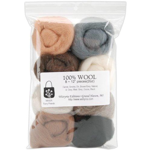 "Wistyria Editions Wool Roving 12"" .25oz 8/Pkg-Furry Friends"