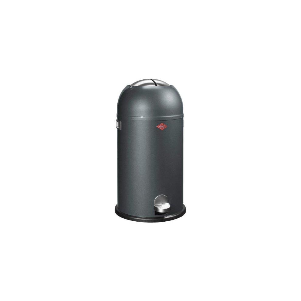 Wesco Kickmaster Zilver.Wesco Kickmaster Powder Coated Steel Waste Bin 33 Litre Graphite