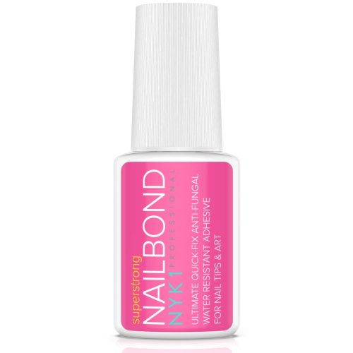 NYK1 Nail Bond Super Strong Nail Tip Bond Glue Adhesive with Brush - Salon Professional Quality - Nailbond Perfect for False Acrylic Art Natural,...