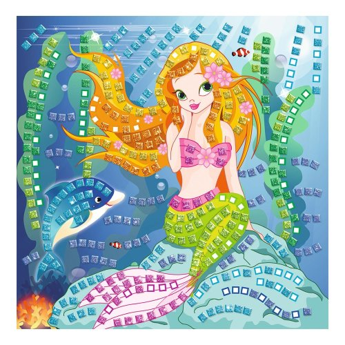 Ursus 8420002 – Foam Rubber Glitter Mosaic Picture Mermaid 434, bunt