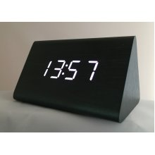 (Black with White LED) Wooden Pyramid LED Clock | Sound-Activated Clock
