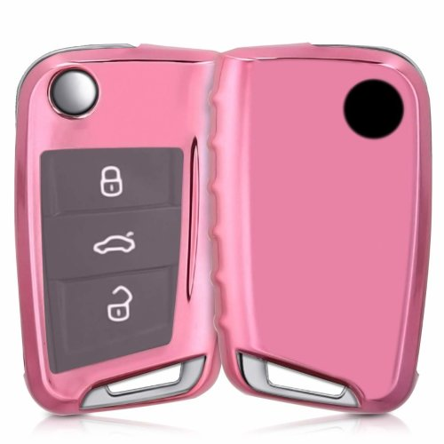 kwmobile VW Golf 7 MK7 Car Key Cover - Soft TPU Silicone Protective Key Fob Cover for VW Golf 7 MK7 3 Button Car Key - Rose Gold High Gloss